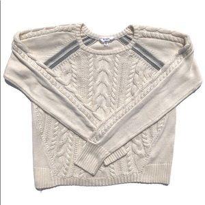 Athleta Cable Knit Sweater Medium Cream Grey